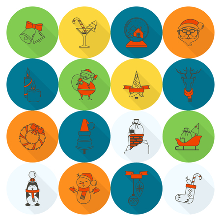 Christmas and winter icons collection, vector illustration.