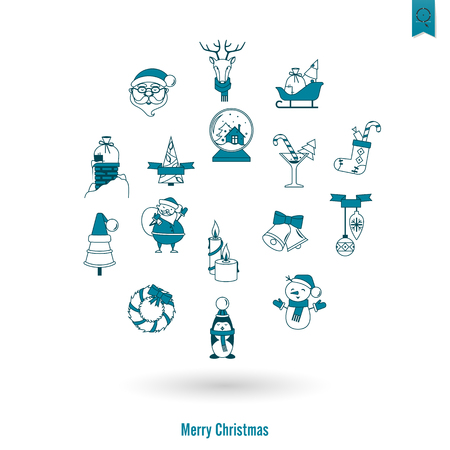 Christmas and Winter Icons Collection Vettoriali