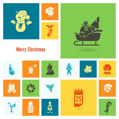 Christmas and Winter Icons Collection Ilustração