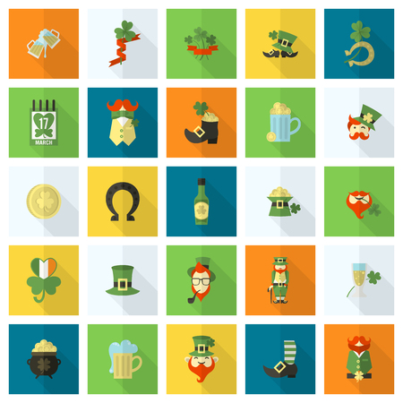 Saint Patricks Day Icon Set. Vector. Clean Work Minimum Points