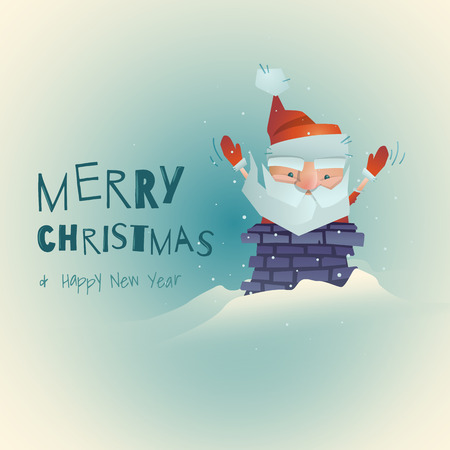 Funny stylized Santa Claus enters the chimney. Merry Christmas theme.