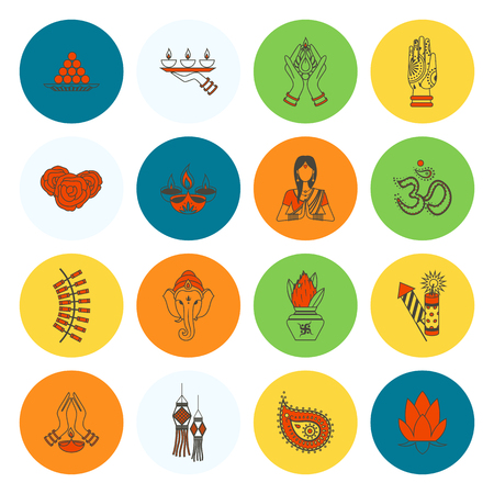 Diwali an Indian Festival Icons. Simple and Minimalistic Style.