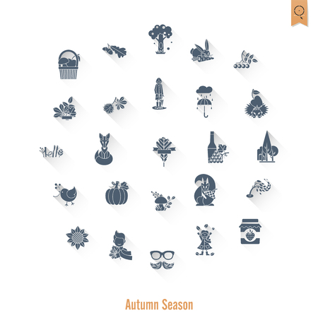 Set of Flat Autumn Icons Иллюстрация