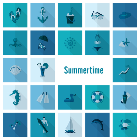 Summer and Beach Simple Flat Icons 矢量图像