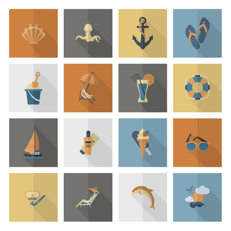 Summer and beach simple flat icons. Banco de Imagens - 94684770