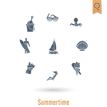 Summer and beach simple flat icons. Illustration
