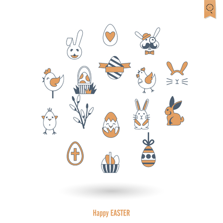Celebration Easter icons. Vector illustration. Clean work minimum points.