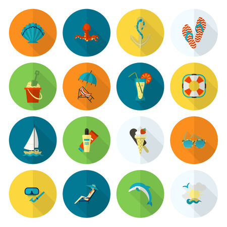 Summer and Beach Simple Flat Icons Vectores