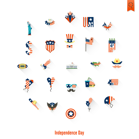 Independence Day of the United States icon set