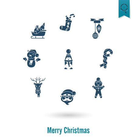 Christmas and winter icons collection illustration.