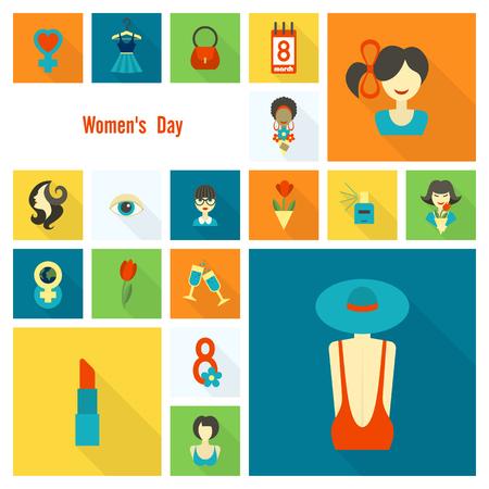 Woman's Day Icon Set Stock Illustratie