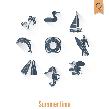 Summer and Beach Simple Flat Icons.