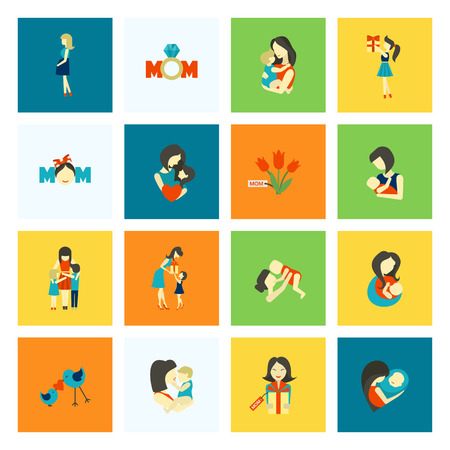 Happy Mothers Day Simple Flat Icons. Vector, Clean Work, Minimum Points. Vettoriali
