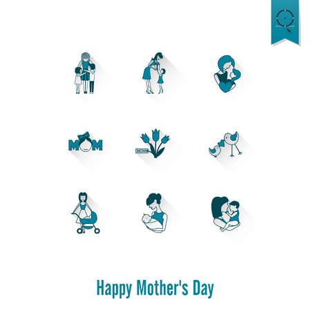 Happy Mothers Day Simple Flat Icons. Vector, Clean Work, Minimum Points. Illustration