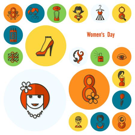 Womans Day Icon Set. Foto de archivo - 96209088