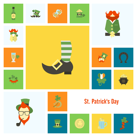 Saint Patrick's Day Icon Set in colored illustration.