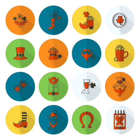 Saint Patrick's Day Icon Set in colored illustration with long shadow. Illustration