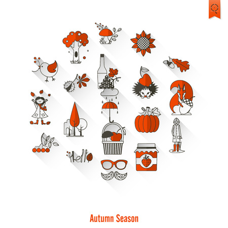 Autumn season icons circular arrangements.