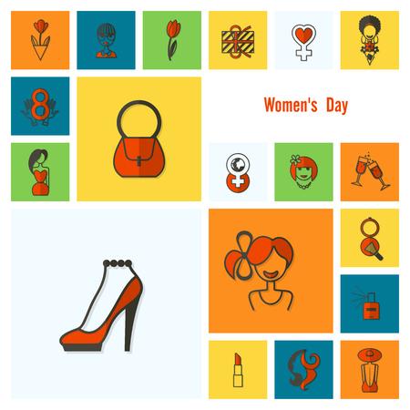 Women's Day Icons Set Vector illustration. Stock Illustratie