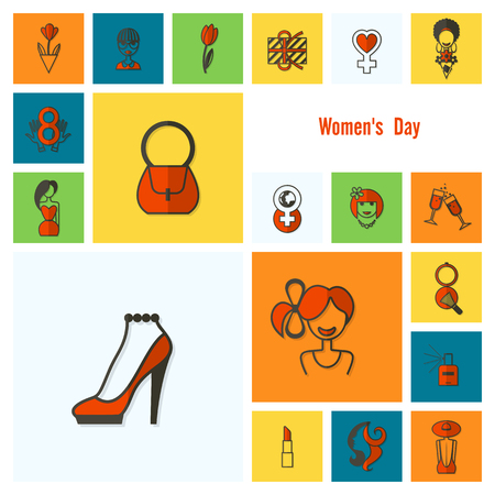 Women's Day Icons Set Vector illustration. Vettoriali