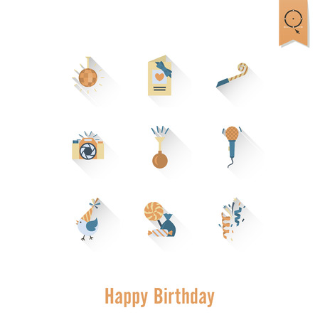 Happy Birthday Icons Set Vector illustration. Illustration