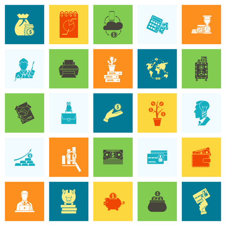 Business and Finance Icon Set isolated on plain background.