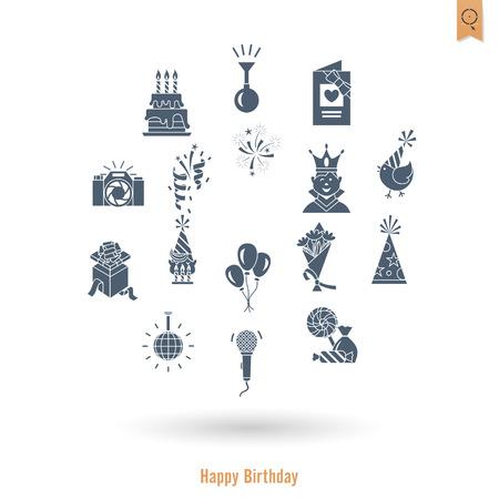 Happy Birthday Icons Set Ilustração