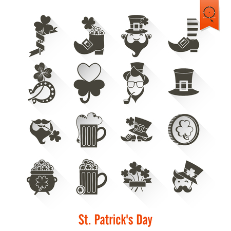 Saint Patricks Day Isolated Icon Set Illustration