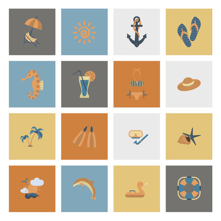 Summer and Beach Simple Flat Icons design