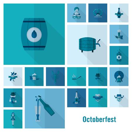 Octoberfest beer festival icon symbol on blue background vector illustration
