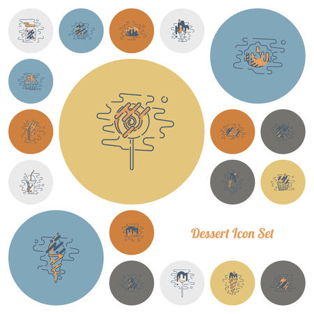 Dessert Icon Set in Modern Flat Design Style Ilustrace