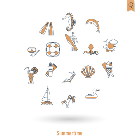 Summer and Beach Simple Flat Icons Vettoriali