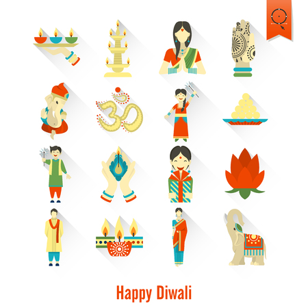 Diwali Indian Festival Icons. Simple and Minimalistic Style. Vector illustration. Vectores
