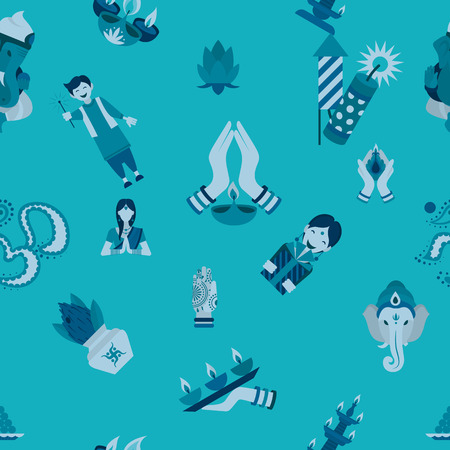 Indian Festival icons on blue Background Vector illustration. Vectores