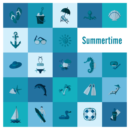 Blue summer time poster and beach simple flat icons 向量圖像
