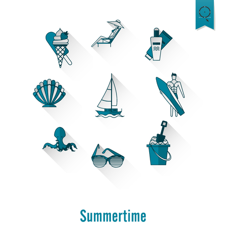 Blue summer time poster with beach simple flat icons Иллюстрация