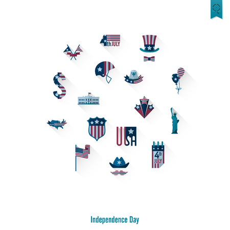 Independence Day of the United States icons set on white background. Vector illustration. Illustration