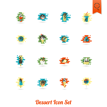 Dessert Icon Set in Modern Flat Design Style Vector illustration. 矢量图像