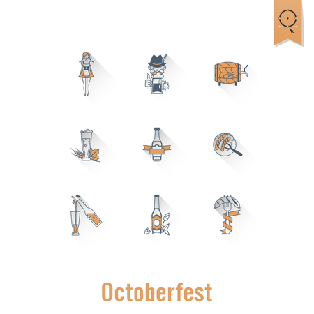 Oktoberfest Beer Festival icons set on white background. Vector illustration.