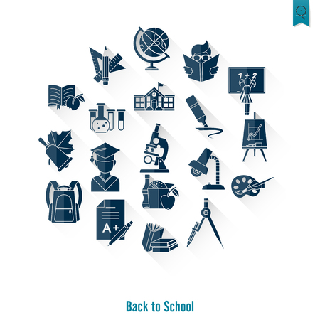 School and education icon sets on white background illustration. Illustration