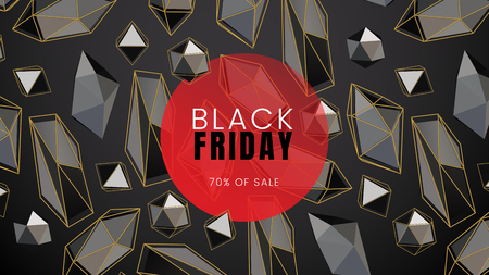 Black friday, sale abstract dark background with abstract shapes and a red circle and polygonal contours, can be used for business card, advertising flyer and e-shopping