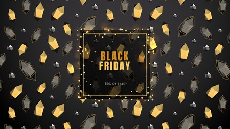 Black friday, sale abstract dark background with frame, glowing lights, polygonal contours and golden shapes, can be used for banner, business card and advertising flyer