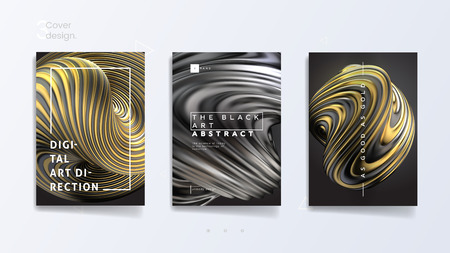 Abstract cover template set with 3d silver and gold twisted shape, can be used for jewelry catalog, luxury bijouterie and royal necklace. Vector illustration Vetores