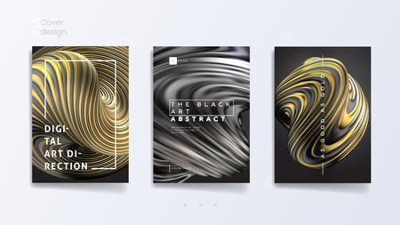Abstrakte Cover-Vorlage mit 3D-Silber- und Gold-Twist-Form, kann für Schmuckkatalog, Luxus-Bijouterie und königliche Halskette verwendet werden. Vektor-Illustration Vektorgrafik