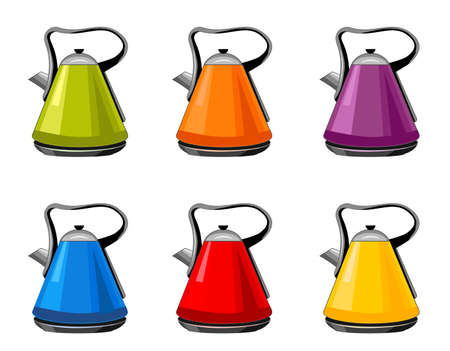 Modern , bright green, orange, purple, blue, red, yellow Kettles, electric teapots isolated cartoon flat set icons. For kitchen interior design Vector Illustratie