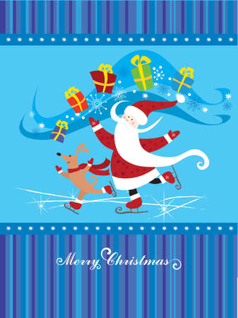 Santa Claus with dog on skate-rink Vector