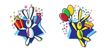2 colorful rabbits with presents and colorful ballons Vector