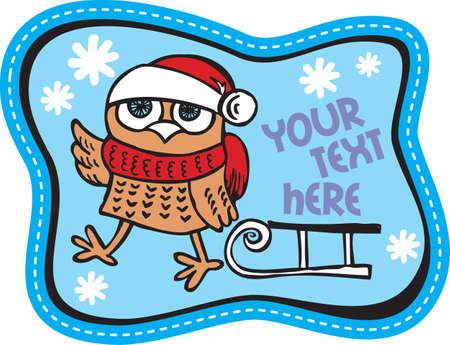 moroz: Owl and sled on the blue background Illustration