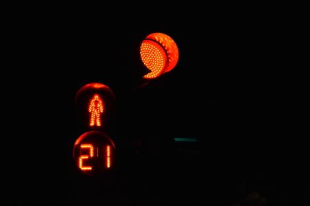 pedestrian red traffic lights at night Archivio Fotografico - 101997880