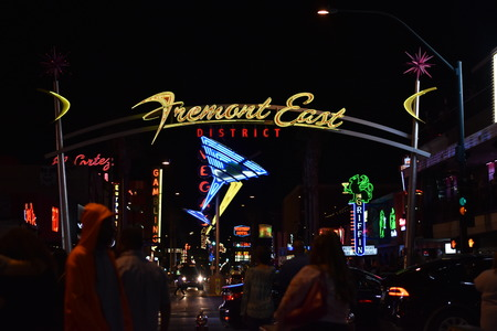 Freemont street sign in downtown Las Vegas at night
